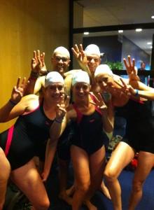De dochters van Willem vlak voor de start in 2012. V.l.n.r. Pawel Skorski, Wessel Simons, Rachel, Judith en Ruth